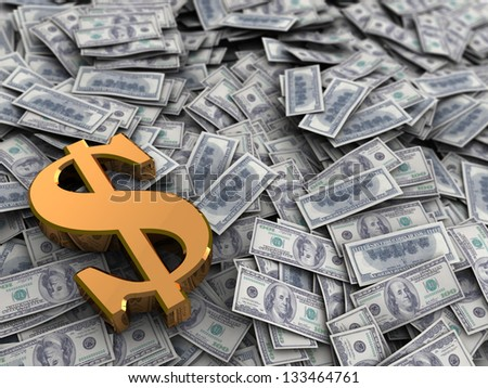 3d illustration of money heap and golden dollar sign - stock photo