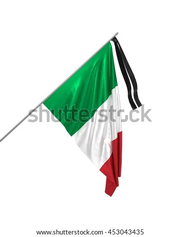 3d illustration of mourning flag of Italy / Honoring the memory of the victims