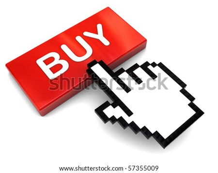 3d illustration of mouse cursor and red button with 'buy' caption - stock photo