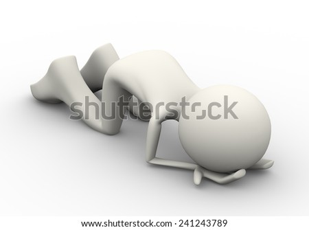 3d illustration of  muslim man praying and performing sajdah and making dua in salah in islamic way. 3d human person character and white people - stock photo