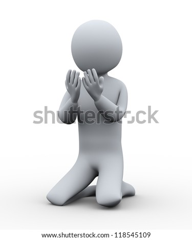 3d Illustration of muslim man praying. 3d rendering of human character. - stock photo
