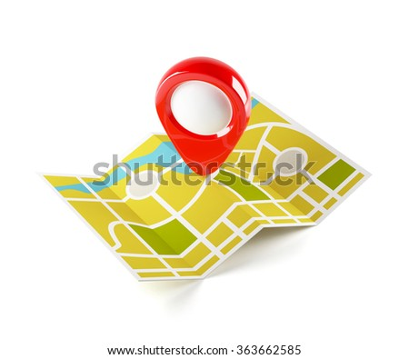 3d illustration of navigation map with guide line. Isolated on white background - stock photo