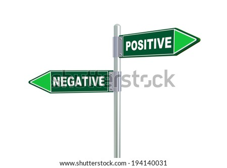 3d illustration of negative and positive road signs