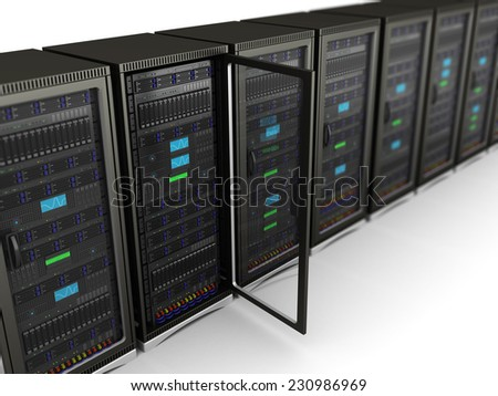 3d illustration of network servers row, one with door open