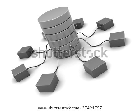 3d illustration of network system over white background