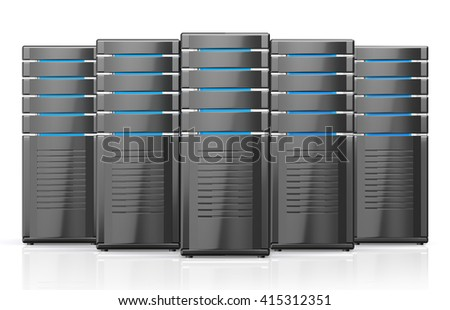 3D illustration of network workstation servers isolated on white background. - stock photo