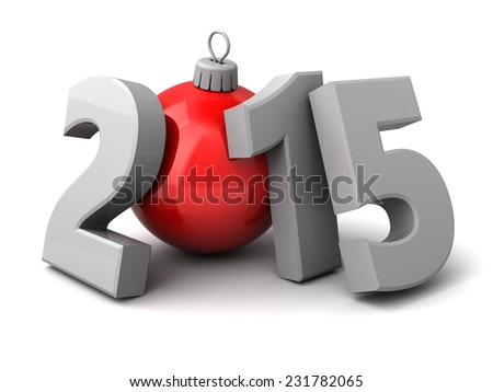 3d illustration of 2015 new year and Christmas over white background - stock photo