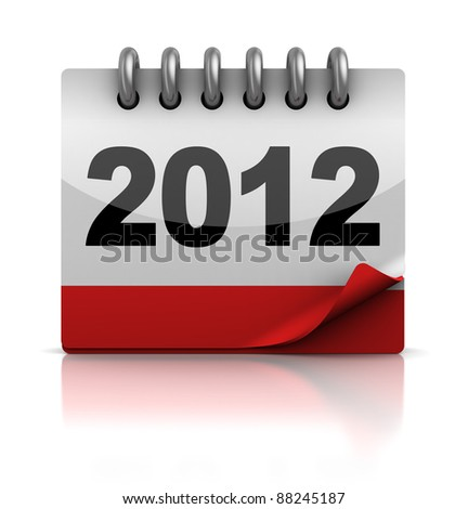 3d illustration of new 2012 year calendar - stock photo