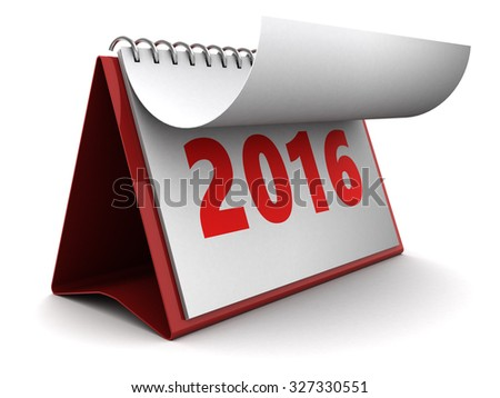 3d illustration of new 2016 year calendar over white background - stock photo
