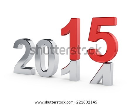 3d illustration of 2015 New Year concept  - stock photo