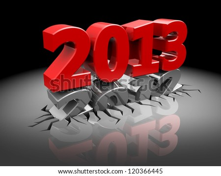 3d illustration of new year sign over dark background - stock photo