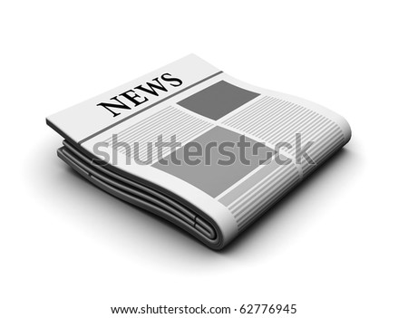 3d illustration of newspaper icon over white background