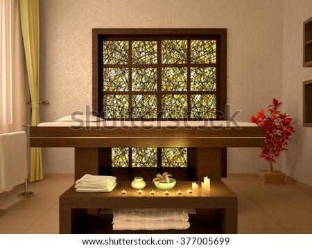 3d illustration of nice massage room in spa salon - stock photo