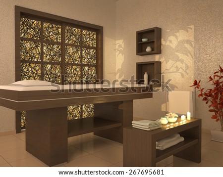 3d illustration of nice massage room in spa saloon - stock photo