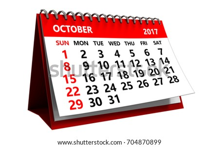 3d illustration of october 2017 calendar isolated over white background