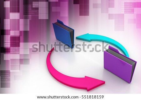 3D illustration of office folders with cycle arrow