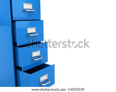 3d illustration of office shelf at left side over white background - stock photo