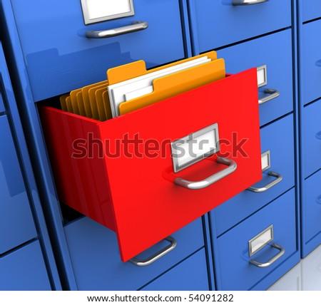 3d illustration of office shelf with document folders inside - stock photo