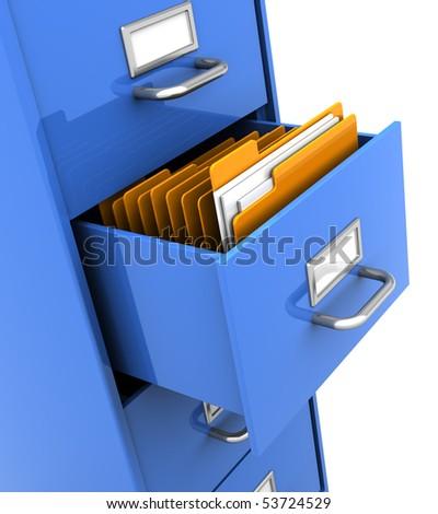 3d illustration of office shelf with folders inside - stock photo