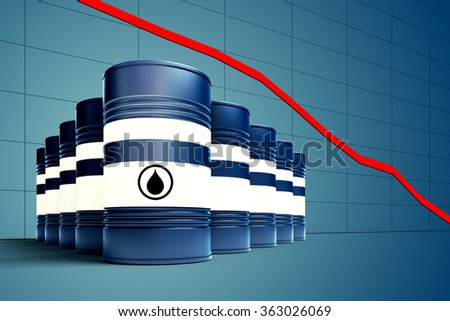 3d illustration of oil barrel with decreasing price graphic - stock photo