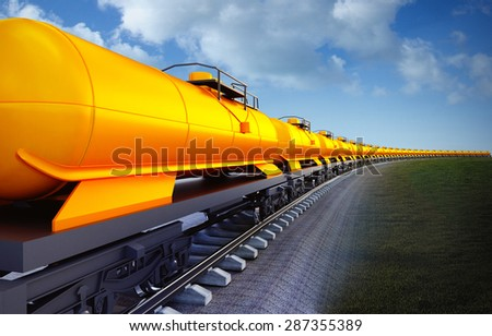 3d illustration of oil cistern train on the sky background - stock photo