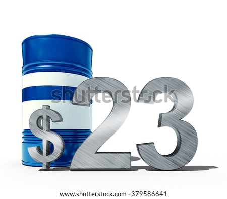 3d illustration of oil price falling concept as a barrel of crude petroleum and dollar sign with price declining prices in fossil energy isolated on white background - stock photo