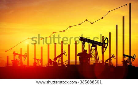 3d illustration of oil pump jacks on sunset sky background. Concept of growing oil prices  - stock photo