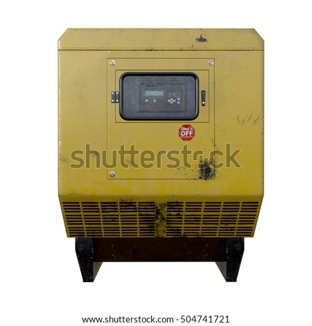 3d illustration of old dirty diesel generator. isolated on white background