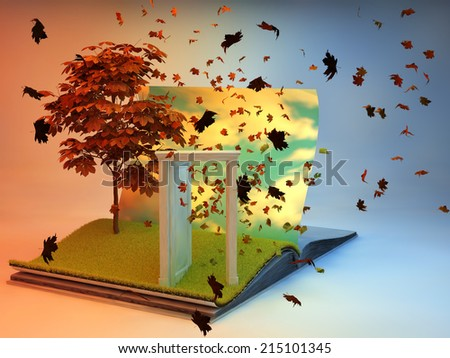 3D illustration of open book with tree on the page. Illustrated concept of autumn season - stock photo