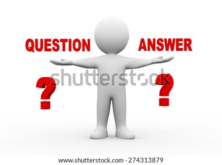 3d illustration of open hand man with word text question answer.  3d rendering of human people character - stock photo