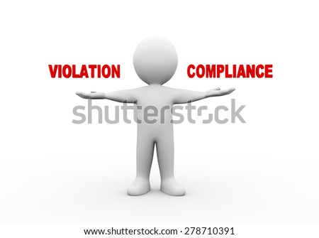 3d illustration of open hand man with word text violation compliance.  3d rendering of human people character - stock photo