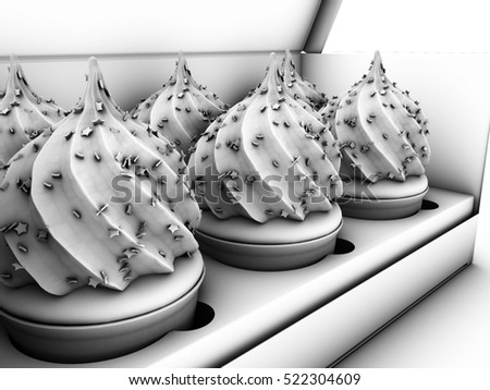 3d Illustration of open paper box with six colorful cupcakes