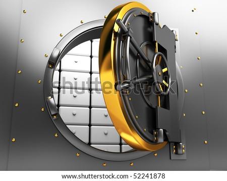3d illustration of opened bank vault door - stock photo
