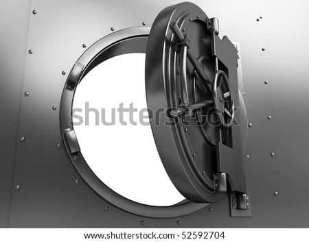 3d illustration of opened bank vault door, over white background - stock photo