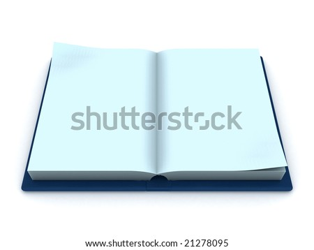 3d illustration of opened book with blank pages