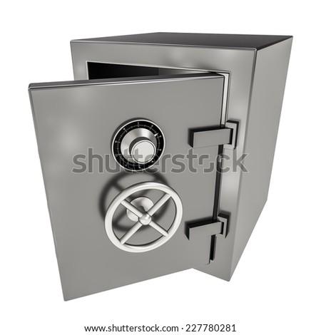 3d illustration of opened empty bank safe on white. - stock photo
