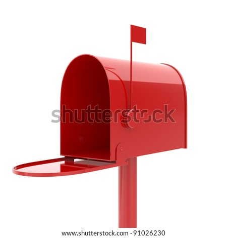 3d illustration of opened red mailbox - stock photo