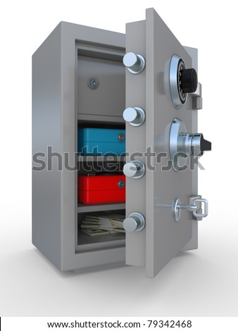 3d illustration of opened steel bank safe with money and documents - stock photo