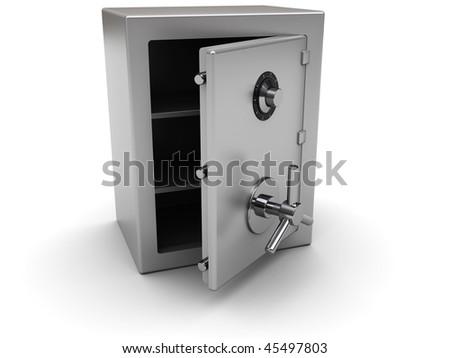 3d illustration of opened steel saf over white background - stock photo