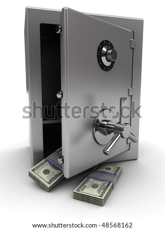3d illustration of opened steel safe with money