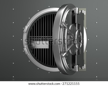 3d illustration of opened vault door - stock photo
