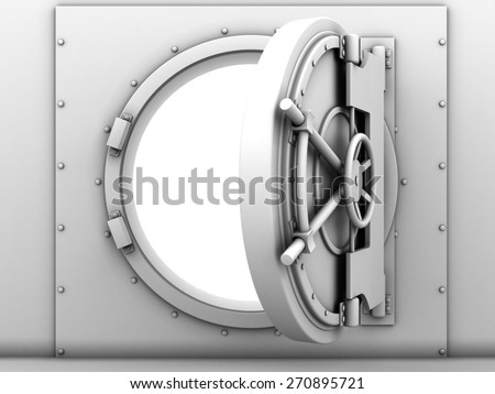 3d illustration of opened vault door white color blank - stock photo
