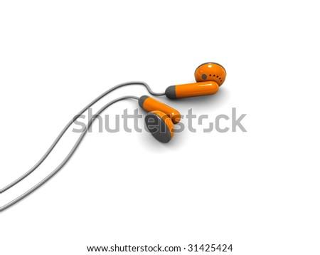 3d illustration of orange headphones over white background - stock photo