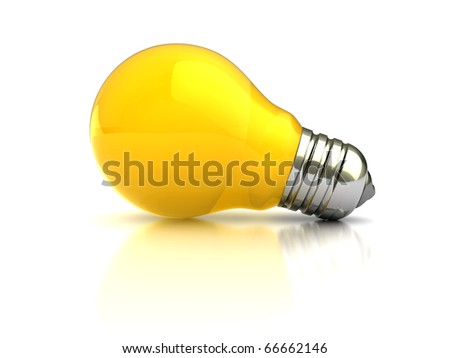 3d illustration of orange light bulb over white background - stock photo