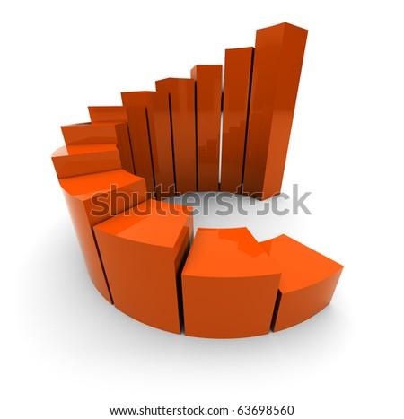 3d illustration of orange raising charts over white background - stock photo