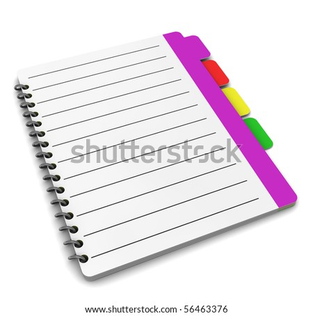3d illustration of organizer notepad or address book over white background