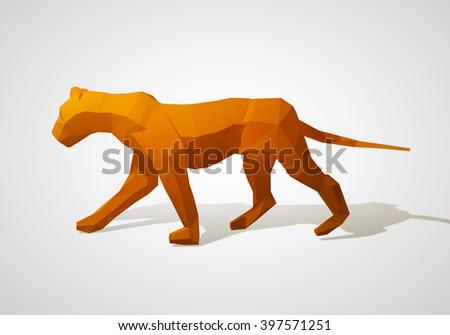 3D illustration of origami lion. Polygonal lion. Walking geometric style lion. - stock photo