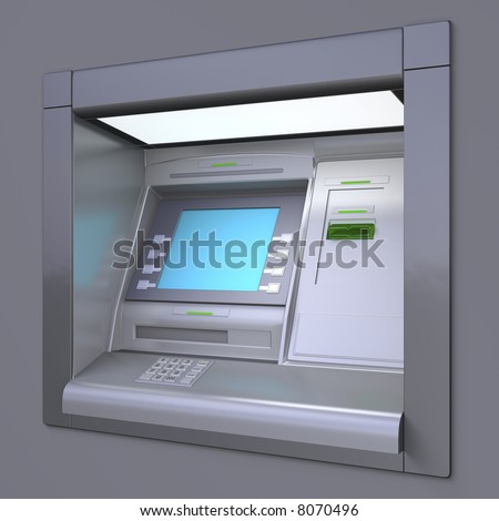 3D illustration of outdoor ATM machine. Image include several clipping paths for easily extraction background, screen etc. - stock photo