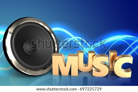 3d illustration of  over sound background with music sign
