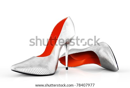 3D illustration of pair strict classical female evening shoes - stock photo